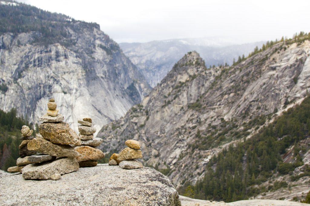 Rock Balancing at the Top of Nevada Falls - Yosemite